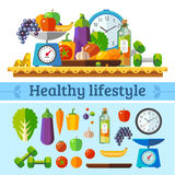 Healthy lifestyle, a healthy diet. And daily routine. Vector flat illustration Royalty Free Stock Photo