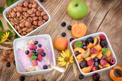Healthy lifestyle, healthy eating - oatmeal with fruits and yogurt Stock Image