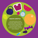 Healthy lifestyle with healthy food icons, fruits, camping. Healthy lifestyle with healthy food icons, dumbbell, fruits, camping stock illustration