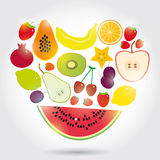 Healthy lifestyle. heart made of  Set of fruits on the white background Stock Photos