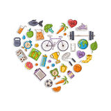Healthy lifestyle heart. Vector heart Concept I love healthy lifestyle sign,symbol,icon isolated  on a white background.Hand Drawn style Stock Images