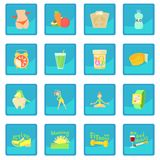 Healthy lifestyle icon blue app. Healthy lifestyle set. Cartoon illustration of 16 healthy lifestyle vector icon blue app for any design vector illustration Stock Photography