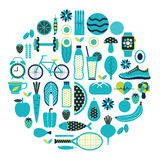 Healthy lifestyle icon set in blue colour Royalty Free Stock Photography