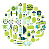 Healthy lifestyle icon set in green colour Stock Photos