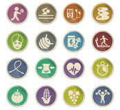 Healthy lifestyle icon set. Healthy lifestyle web icons on color paper labels Royalty Free Stock Photo