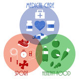 Healthy lifestyle icons, background, vector illustration. Sport Stock Photography