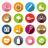 Healthy Lifestyle Icons - Flatdesign Royalty Free Stock Photos