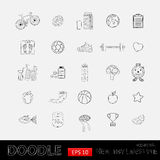 Healthy lifestyle icons. Hand drawn Icon set with various healthy lifestyle elements.Sport activities.Diet and fitness Stock Photography