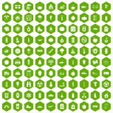 100 healthy lifestyle icons hexagon green. 100 healthy lifestyle icons set in green hexagon isolated vector illustration Royalty Free Stock Photo