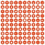 100 healthy lifestyle icons hexagon orange. 100 healthy lifestyle icons set in orange hexagon isolated vector illustration Stock Images