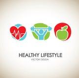 Healthy lifestyle icons Stock Photos