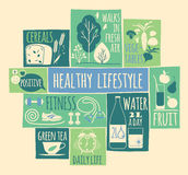 Healthy Lifestyle Icons Set Stock Photography