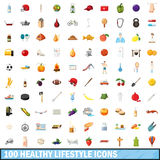 100 healthy lifestyle icons set, cartoon style. 100 healthy lifestyle icons set in cartoon style for any design vector illustration Royalty Free Stock Photos