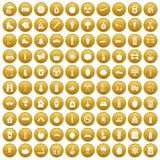 100 healthy lifestyle icons set gold. 100 healthy lifestyle icons set in gold circle isolated on white vectr illustration Royalty Free Stock Photography
