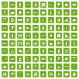 100 healthy lifestyle icons set grunge green. 100 healthy lifestyle icons set in grunge style green color isolated on white background vector illustration Stock Illustration