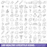 100 healthy lifestyle icons set, outline style. 100 healthy lifestyle icons set in outline style for any design vector illustration Royalty Free Stock Photos