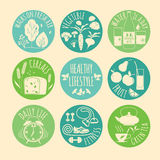 Healthy lifestyle Icons set Stock Photos