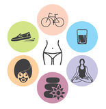 Healthy lifestyle  icons Stock Images