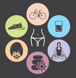 Healthy lifestyle  icons Stock Image