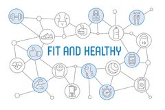 Fit and Healthy lifestyle banner. Design chart with thin line ic Royalty Free Stock Photo