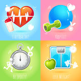 Healthy lifestyle illustration set Stock Photography