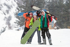 Healthy Lifestyle Image Of Happy Snowboarders Team Stock Photography