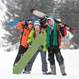 Healthy Lifestyle Image Of Snowboarders Team Stock Image