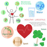 Healthy lifestyle infographic: activity, nutrition, rest Royalty Free Stock Images