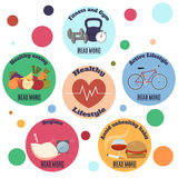 Healthy lifestyle infographic banner with circles Royalty Free Stock Image