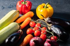A healthy lifestyle is the layout of the vegetables, eggplant, pepper.onion royalty free stock photos