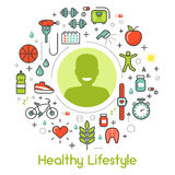 Healthy Lifestyle Line Art Thin Icons Royalty Free Stock Images