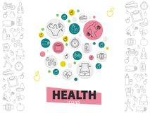 Healthy Lifestyle Line Icons Collection. With strong man sneaker bicycle apple avocado fitness equipment vitamins stopwatch in circles isolated vector Royalty Free Stock Photography
