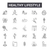 Healthy lifestyle line icons, signs, vector set, outline illustration concept royalty free illustration
