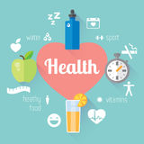 Healthy lifestyle llustration and info-graphic. Food, water, sport. Vector modern flat design element Royalty Free Stock Photos