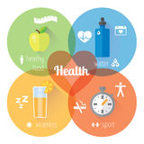 Healthy lifestyle llustration and info graphic. Food, water, sport. Stock Photos