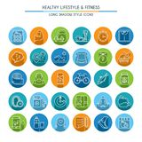 Healthy lifestyle long shadow icons Royalty Free Stock Photos