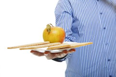 Healthy lifestyle male hand with crispbread apple Royalty Free Stock Photo