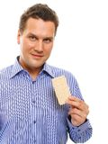 Healthy lifestyle man eating crispbread isolated Stock Photos