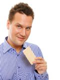 Healthy lifestyle man eating crispbread isolated Stock Images