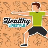 Healthy lifestyle man stretching training sport icons background. Vector illustration Royalty Free Stock Images