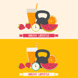 Healthy lifestyle modern flat illustration. Stock Images