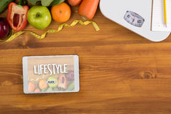 Healthy lifestyle online webpage cool eating healthy food Invest Stock Photography