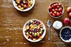 Healthy lifestyle organic cereal with fresh seasonal fruits vegan option Stock Photo