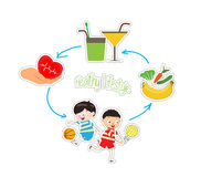 Healthy lifestyle over white background Stock Images