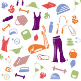 Healthy lifestyle pattern. Color pattern of things for the health of the lifestyle Stock Illustration