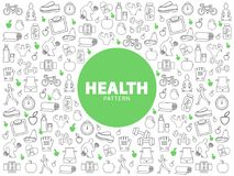 Healthy Lifestyle Pattern. With fitness equipment proper nutrition vitamins yoga sport activities bicycle scales line icons vector illustration Stock Image