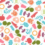 Healthy lifestyle pattern with food and sport icons. Healthy lifestyle seamless with food and sport icons royalty free illustration