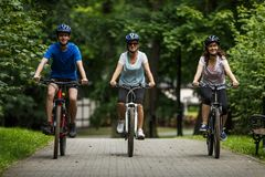 Healthy lifestyle - people riding bicycles Royalty Free Stock Images