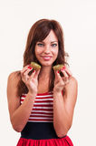 Healthy lifestyle - portrait of young beautiful woman separates Royalty Free Stock Images