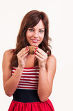 Healthy lifestyle - portrait of young beautiful woman separates Stock Image